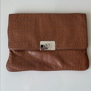 Michael Kors Oversized Brown Croc Leather Clutch